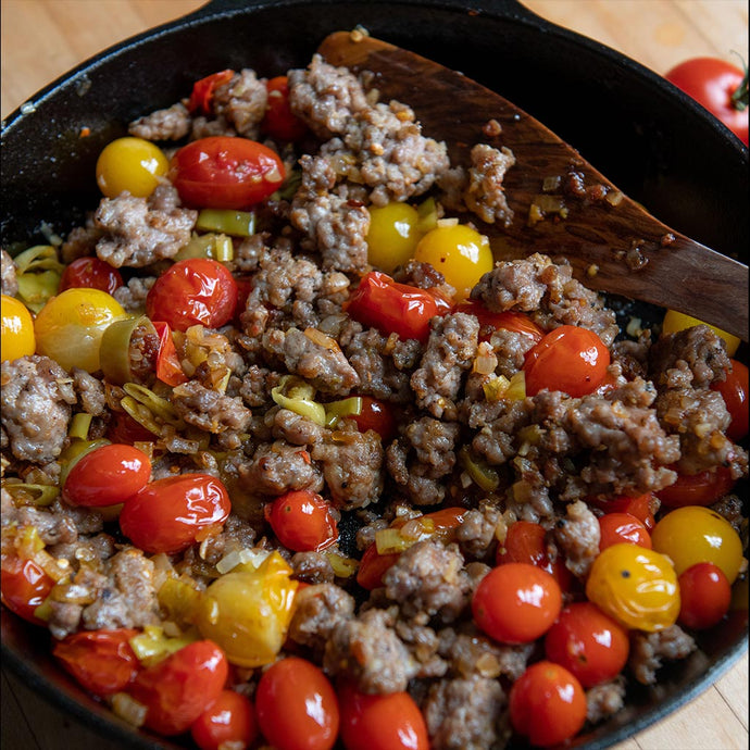 Skillet Sausage and Cherry Tomatoes