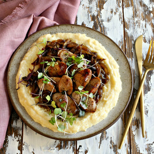 Sausage with Caramelized Onions and Cheesy Polenta