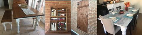 Custom Farmhouse table, custom barn door, custom oil shelf