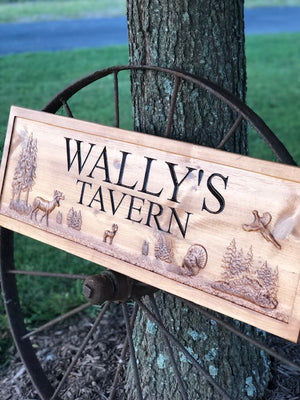 Stained sign carved with 3d deer scene with turkey and pheasant
