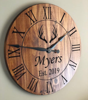 "24"" Rustic clock with antlers and last name"