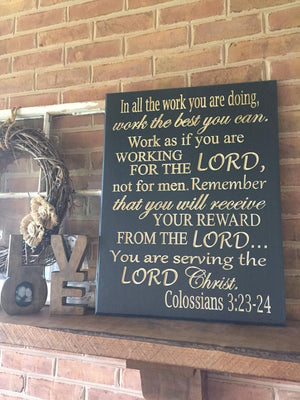 Large Bible verse wall art Colossians 3:23-24