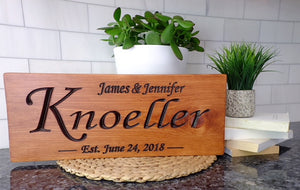 Wedding date sign with cedar finish