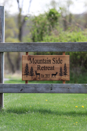 Custom outdoor sign with deer