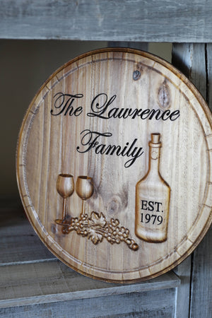 Custom wine sign with family name
