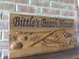 Custom beach house sign stained