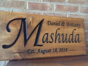 Anniversary sign with last name