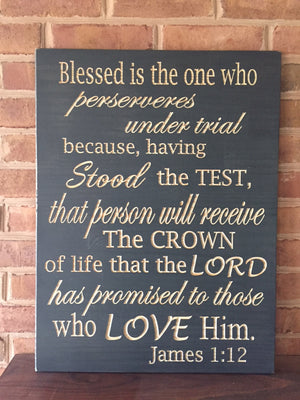 Large Bible verse wall art James 1:12