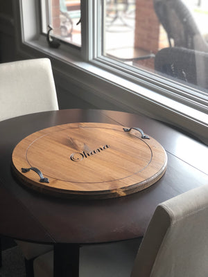 Round Serving Tray with name