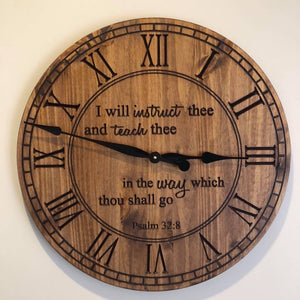 "24"" Wall clock- I will instruct thee"