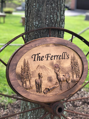 Oval 3D deer scene sign