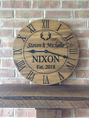 "24"" Rustic clock with antlers"