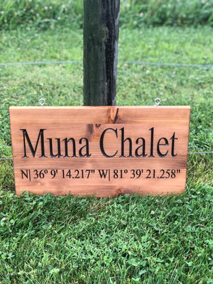 Custom indoor/outdoor sign with coordinates