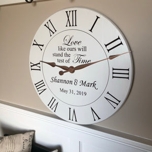 custom clock with phrase love like ours will stand the test of time