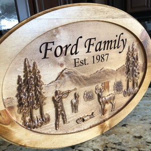 Oval 3D hunting scene sign