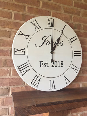 "24"" Custom wall clock with white finish"