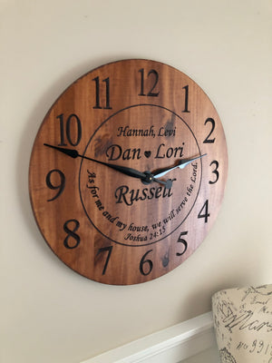 "24"" Wall clock with custom phrase"