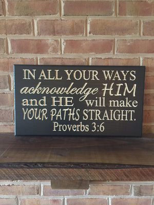 Bible verse wall art Proverbs 3:6