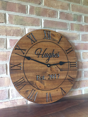 "18"" Personalized clock with stained finish"