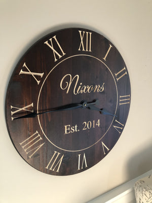 Dark stained personalized clock