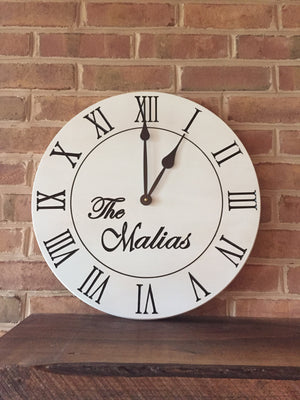 "18"" Custom clock with farmhouse white finish"