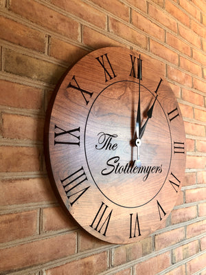 "24"" Custom wall clock- Cherry wood"