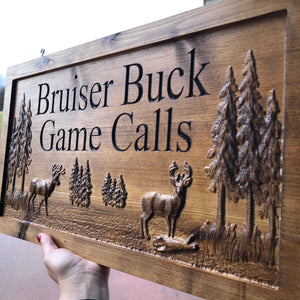 Custom rustic sign with 3D deer scene