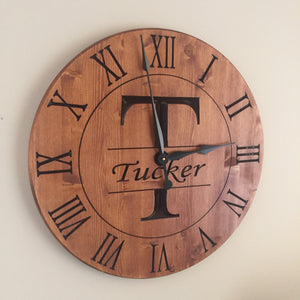 "24"" Custom wall clock with Monogram"