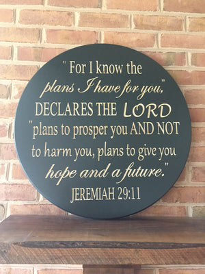 Round Bible verse wall art Jeremiah 29:11