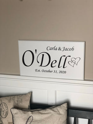 Custom wedding date sign with hearts