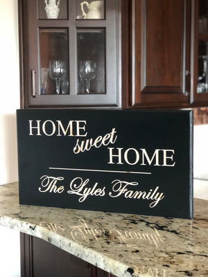 Home sweet home sign with last name