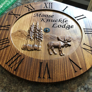 "24"" Rustic clock with 3D moose scene"