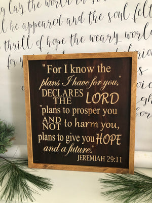 Stained Bible verse wall art Jeremiah 29:11