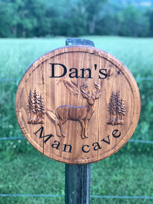 rustic deer sign for man cave