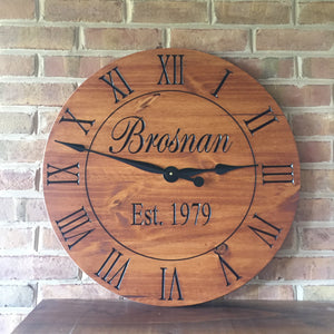 "24"" Custom wall clock with cedar finish"