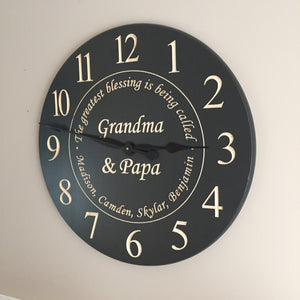 "24"" Personalized wall clock- The greatest blessing is being called Grandma"