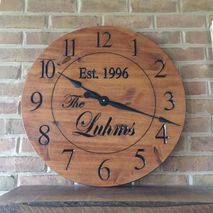 "24"" Custom clock with regular numbers and stained finish"