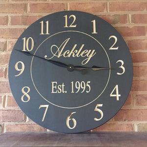 "24"" Custom clock with regular numbers in charcoal gray finish"