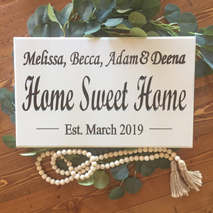 Home sweet home white farmhouse sign