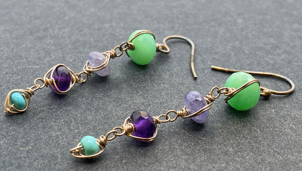 Earrings of semi-precious stones and sterling silver
