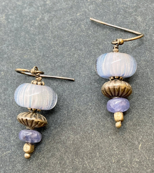 Earrings of lamp work glass, semi-precious stones, and sterling silver