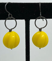 Earrings of vintage yellow glass and sterling silver