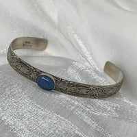 """Remember your Strength"" Bracelet with blue stone"