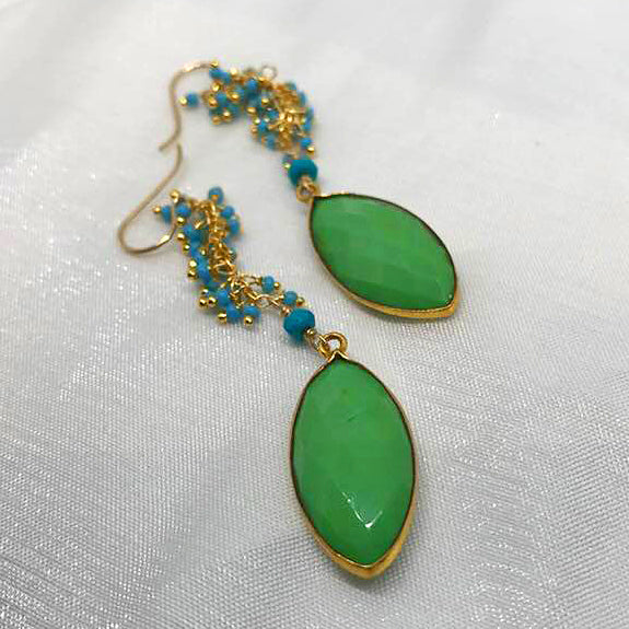 Chrysolite with turquoise earrings