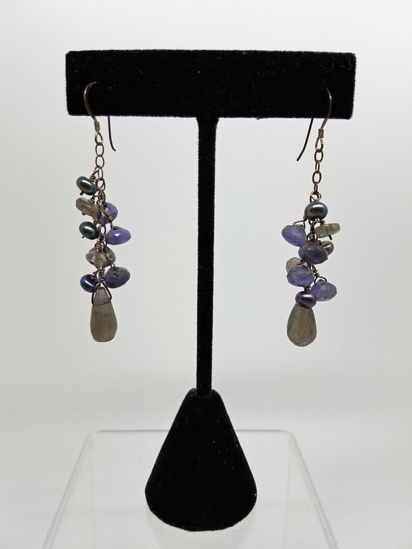 Dangle earrings of faceted labradorite and dark pearls