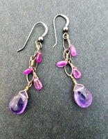 Earrings of semi-precious drops with faceted amethyst
