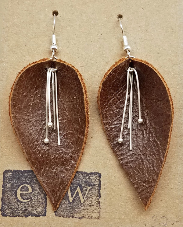 Earrings of brown leather leaf with silver drops