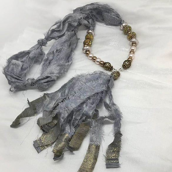 Grey Silk Sari with Glass, and pearl beads