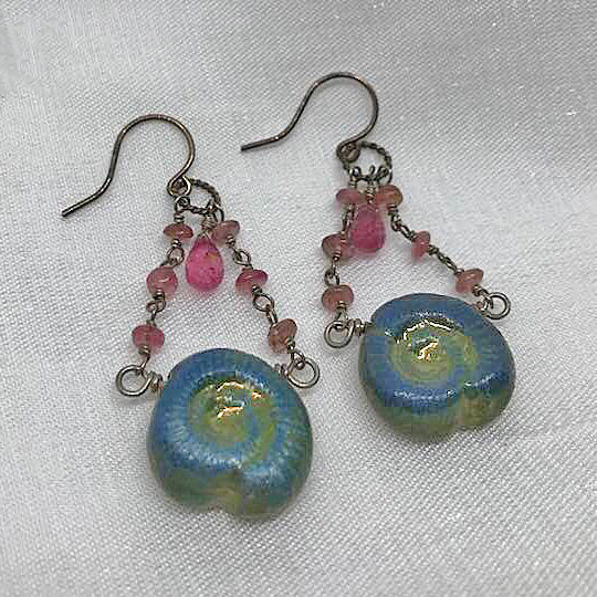 Teal Drop Shell Earrings