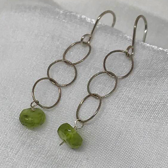 Sterling silver with Peridot drops